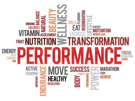 PERFORMANCE woordwolk, fitness, sport, gezondheid concept Stock Illustratie