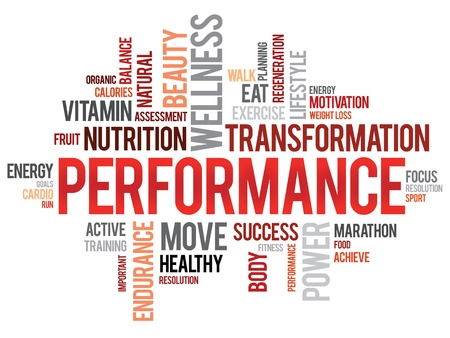 physical activity: PERFORMANCE word cloud, fitness, sport, health concept