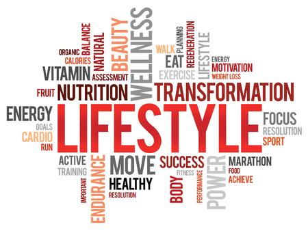relajado: VIDA nube de palabras, fitness, deporte, concepto de salud