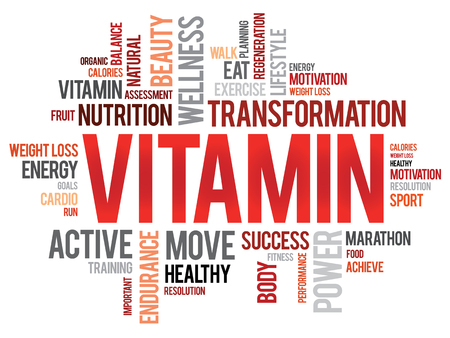 enzyme: VITAMIN word cloud, fitness, sport, health concept