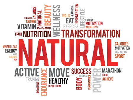 vitamine: NATURAL word cloud, fitness, sport, health concept