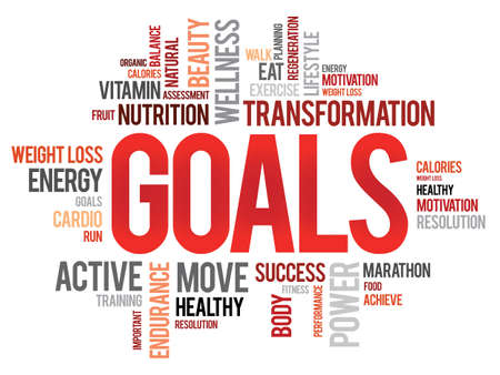 GOALS word cloud, fitness, sport, health concept Çizim