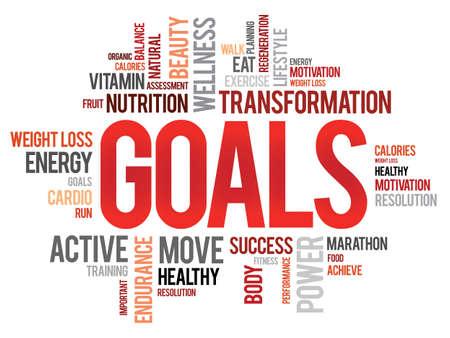 health concept: OBJETIVOS nube de palabras, fitness, deporte, concepto de salud Vectores