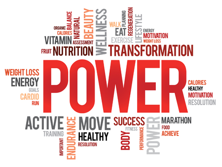 POWER word cloud, fitness, sport, health concept 矢量图像