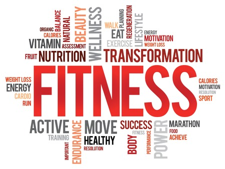 FITNESS word cloud, sport, health concept 向量圖像