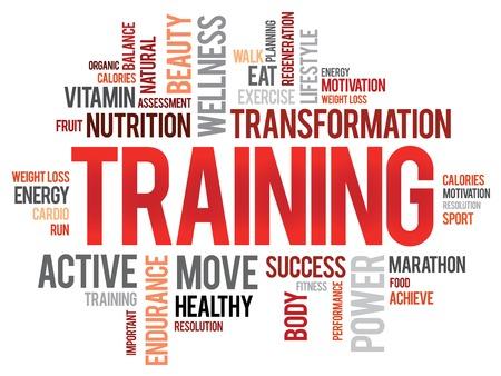 wort: TRAINING Wortwolke, Fitness, Sport, Gesundheit Konzept