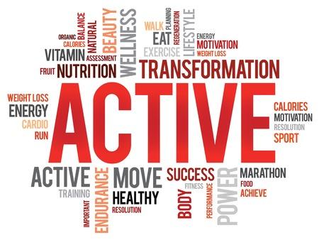 vital: ACTIVE word cloud, fitness, sport, health concept Illustration