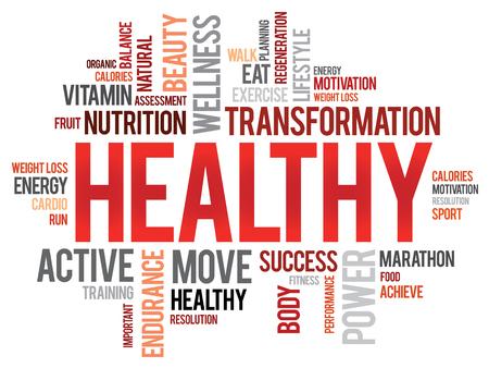 health concept: SANA nube de palabras, fitness, deporte, concepto de salud Vectores