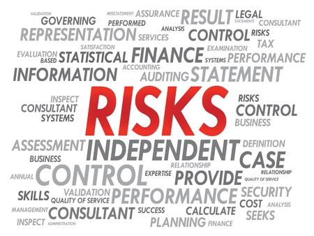 negative returns: RISKS word cloud, business concept
