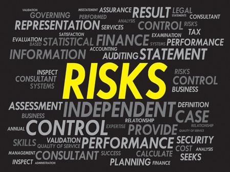 cons: RISKS word cloud, business concept