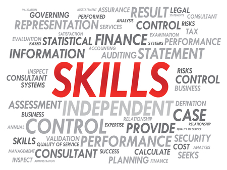tax form: SKILLS word cloud, business concept