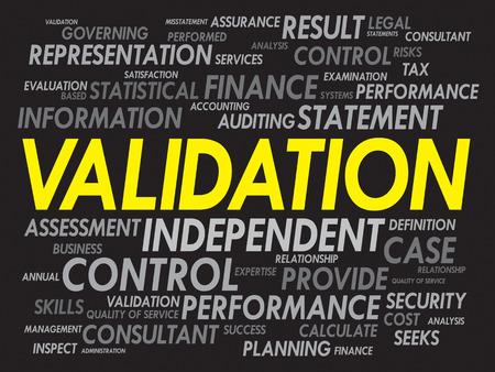 validation: VALIDATION word cloud, business concept Illustration