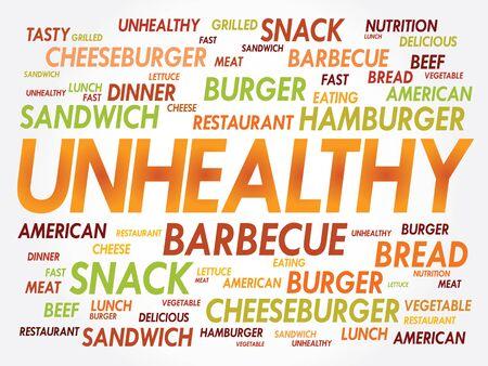 unhealthy: MALSANO nube de palabras, el concepto de comida r�pida Vectores