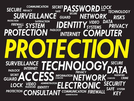 data protection act: PROTECTION word cloud, business concept Illustration