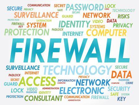 firewall: FIREWALL Wortwolke, Sicherheitskonzept Illustration