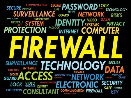 cyber defence: FIREWALL word cloud, security concept