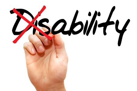 discapacidad: Encendido de la palabra Discapacidad en Habilidad, concepto de negocio