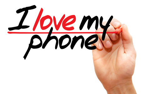 i like my school: Hand writing I love my phone with marker, business concept