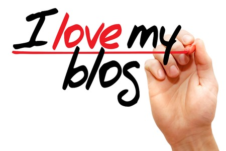 inclination: Hand writing I love my blog with marker, business concept Stock Photo