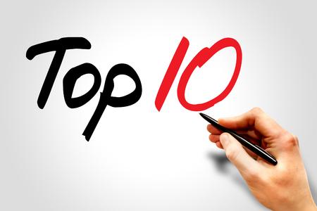 top ten: Hand writing Top Ten, business concept