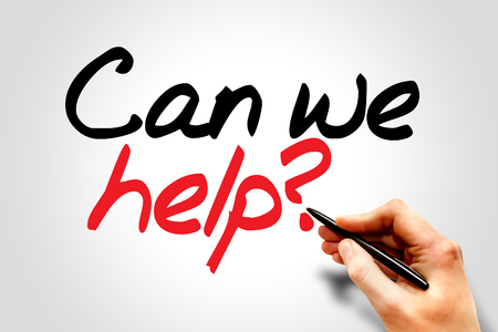 Hand writing Can we help?, business concept Imagens