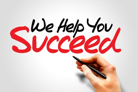 personal goals: Hand writing We Help You Succeed, business concept Stock Photo
