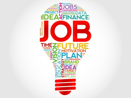 hired: JOB bulb word cloud, business concept Illustration
