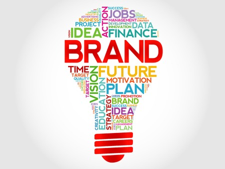 BRAND bulb word cloud, business concept Vectores