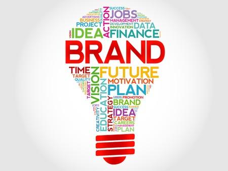 BRAND bulb word cloud, business concept Vettoriali