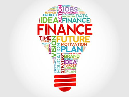 lending: FINANCE bulb word cloud, business concept