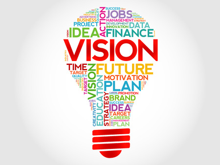 VISION bulb word cloud, business concept