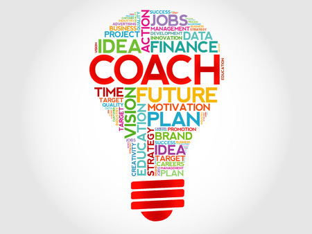 career coach: COACH bulb word cloud, business concept