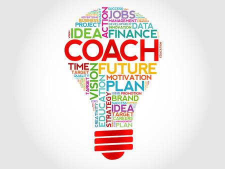 Word Coach ampoule nuage, concept d'entreprise Vecteurs