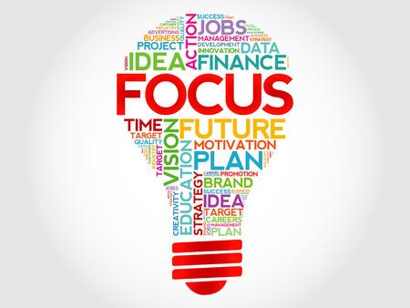 business focus: FOCUS bulb word cloud, business concept