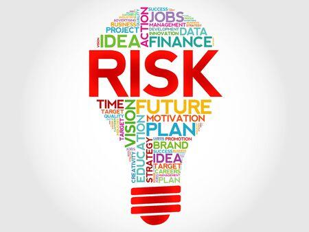 RISK bulb word cloud, business concept