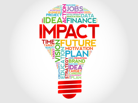 impact: IMPACT bulb word cloud, business concept Illustration