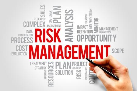 Risk Management Het identificeren, evalueren en behandelen van risico's, business concept woorden wolk Stockfoto