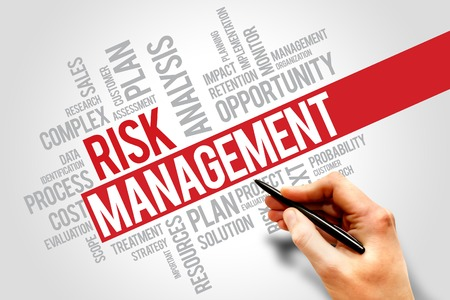 identifying: Risk Management Identifying, Evaluating And Treating Risks, business concept words cloud Stock Photo