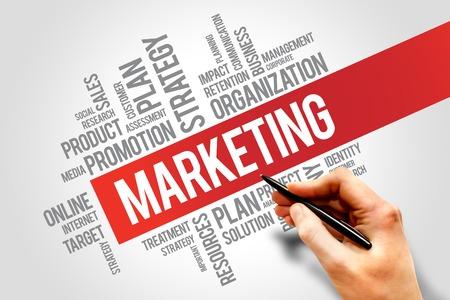 strategy: Estrategia de marketing y objetivos fundamentales de las palabras de productos nube, concepto de negocio Foto de archivo