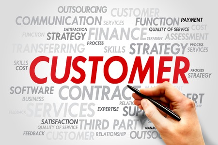 underestimate: Customer words tag cloud, business concept Stock Photo