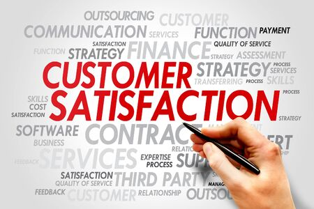 balanced scorecard: Word Cloud with Customer Satisfaction related tags, business concept