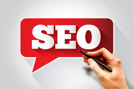 meta analysis: SEO (Search Engine Optimization) sign text message bubble, business concept