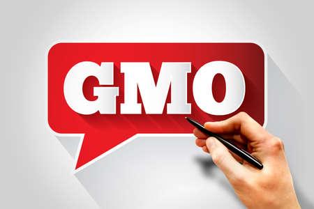 gmo: GMO text message bubble, business concept