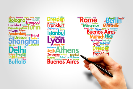 travel concept: FLY, cities names word cloud travel concept Stock Photo