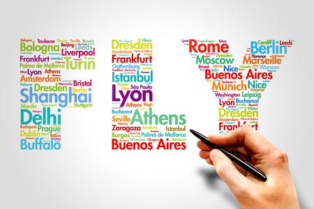 agencia de viajes: FLY, ciudades nombres palabra concepto de viaje nube Foto de archivo