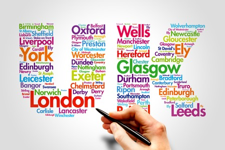 United Kingdom (UK), cities names word cloud travel concept photo