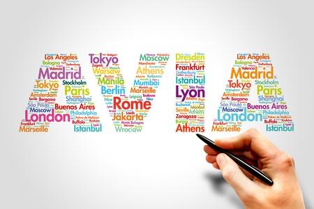 avia: AVIA, cities names word cloud travel concept