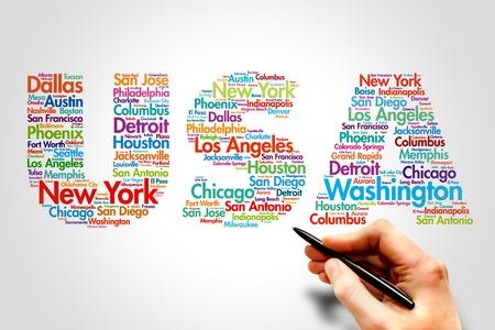 米国、都市名単語雲旅行の概念