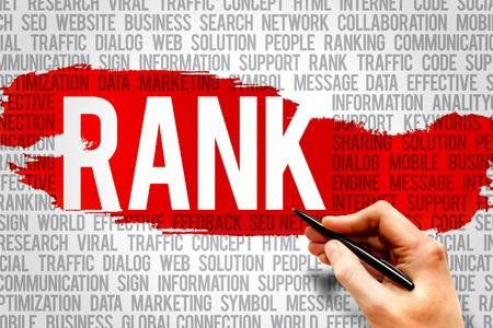 rank: RANK word cloud, business concept