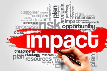 gestion empresarial: IMPACTO nube de la palabra, concepto de negocio Foto de archivo